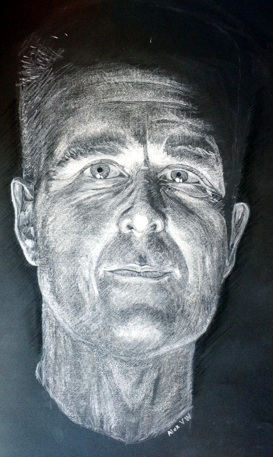 White charcoal and Conte on black paper